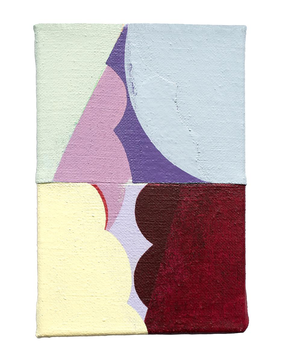 """Rosal, acrylic on sewn canvas, 12"""" x 8"""", 2018"""