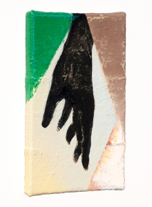 """Hand I (side view), oil on sewn canvas, 12"""" x 8"""", 2020"""