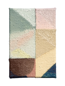 "Moona, oil and acrylic on sewn canvas, 12"" x 8"", 2019"