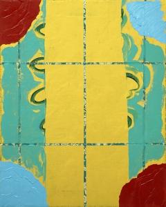 "Crims, oil and acrylic on fabric, 20"" x 16"", 2015"